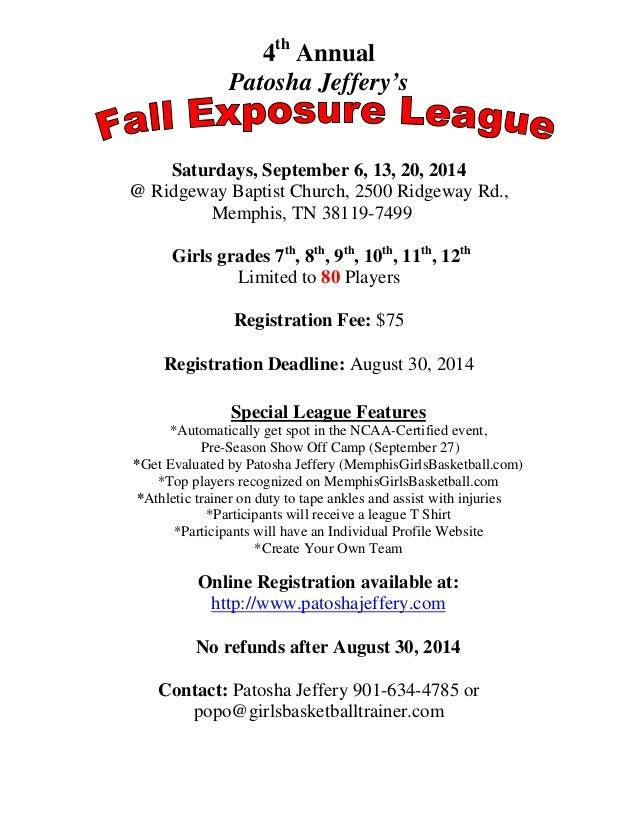 2014 Fall League Flyer