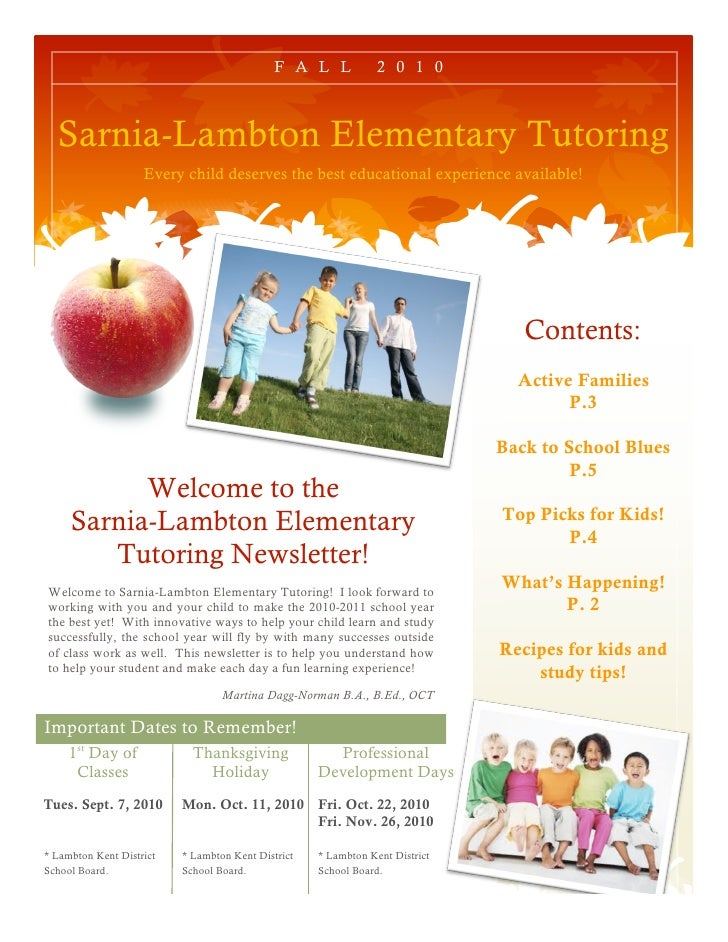 F A L L            2 0 1 0      Sarnia-Lambton Elementary Tutoring                     Every child deserves the best educa...