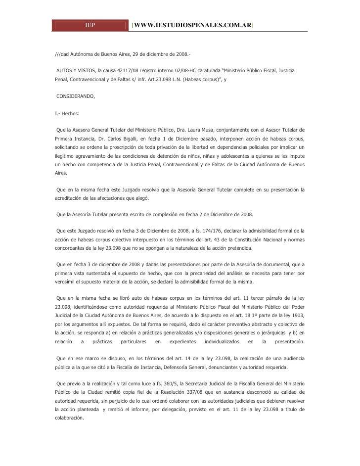 Habeas corpus. Ilegalidad de la detención de menores en comisarías www.iestudiospenales.com.ar