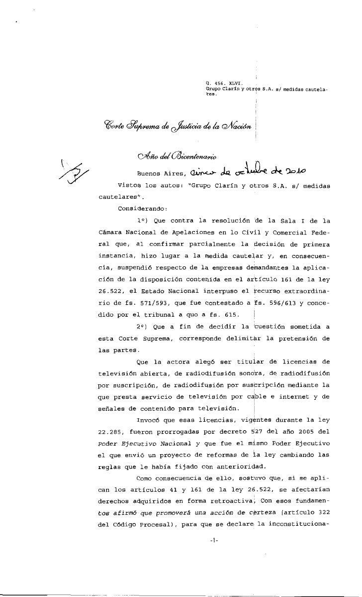 Fallo CSJN - Art. 161 Ley de Medios