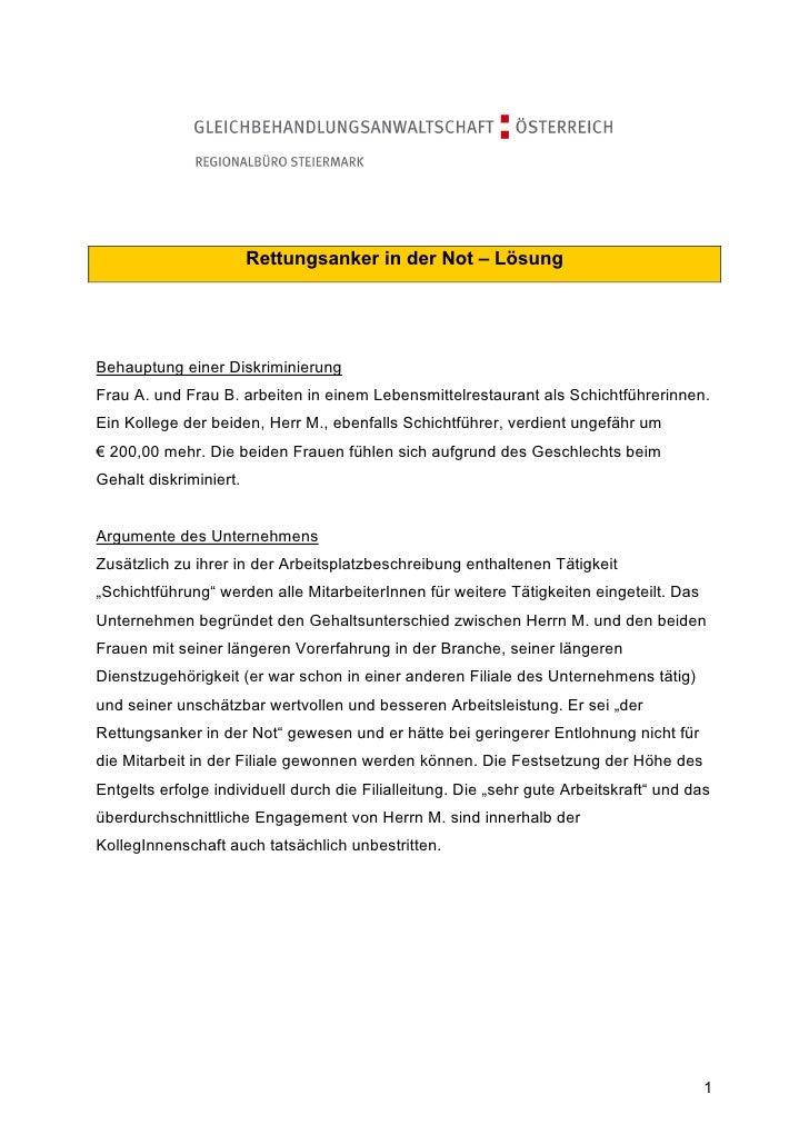 Rettungsanker in der Not – LösungBehauptung einer DiskriminierungFrau A. und Frau B. arbeiten in einem Lebensmittelrestaur...