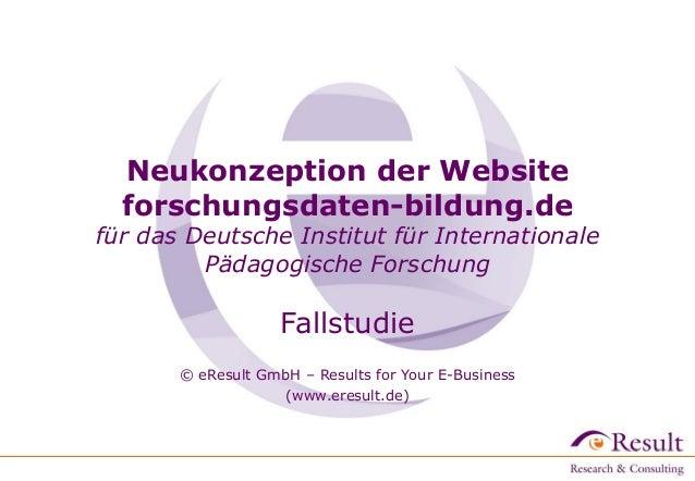 Neukonzeption der Website forschungsdaten-bildung.de für das Deutsche Institut für Internationale Pädagogische Forschung F...