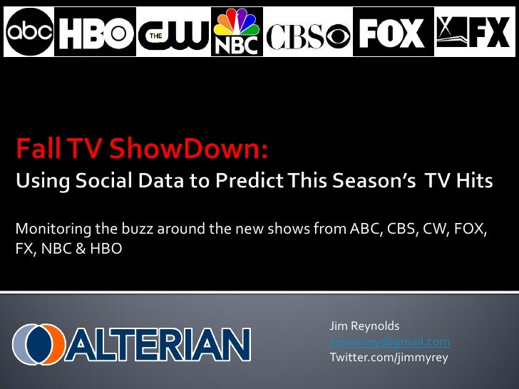 Monitoring the buzz around the new shows from ABC, CBS, CW, FOX, FX, NBC & HBO                                            ...
