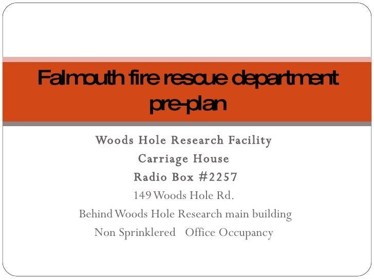 FFRD Pre-Plan Carriage House Woods Hole Research