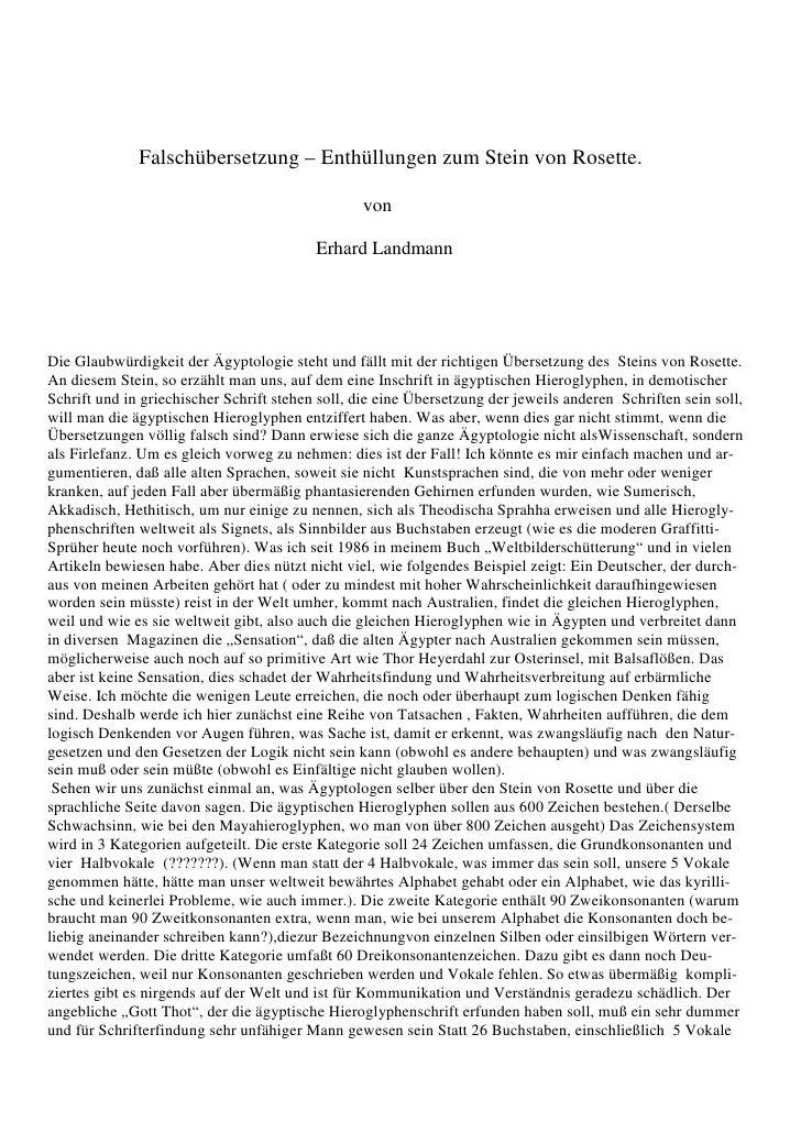 Falschübersetzung – Enthüllungen zum Stein von Rosette.                                                 von               ...