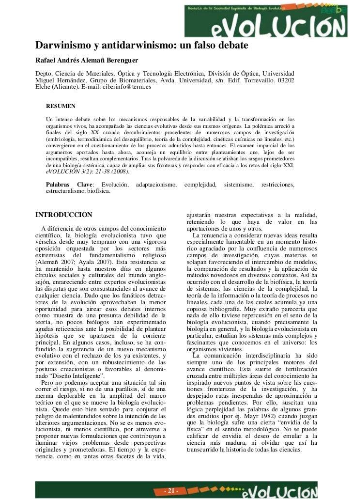 Darwinismo y antidarwinismo: un falso debateRafael Andrés Alemañ BerenguerDepto. Ciencia de Materiales, Óptica y Tecnologí...