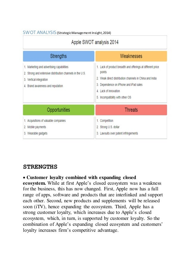 swot analysis of apple company the Swot analysis business description apple computer is involved in the design, manufacture, and marketing of personal apple computer, inc apple.
