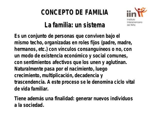 CONCEPTO DE FAMILIACONCEPTO DE FAMILIA La familia: un sistemaLa familia: un sistema Es un conjunto de personas que convive...