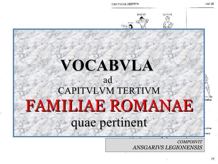 VOCABVLA  ad  CAPITVLVM TERTIVM FAMILIAE ROMANAE quae pertinent COMPOSVIT ANSGARIVS LEGIONENSIS