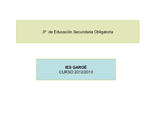 3º de Educación Secundaria Obligatoria          IES GAROÉ        CURSO 2012/2013