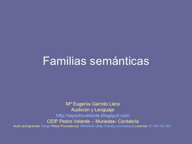 Familias semánticas Mª Eugenia Garrido Llera Audición y Lenguaje http :// alpedrovelarde.blogspot.com CEIP Pedro Velarde –...
