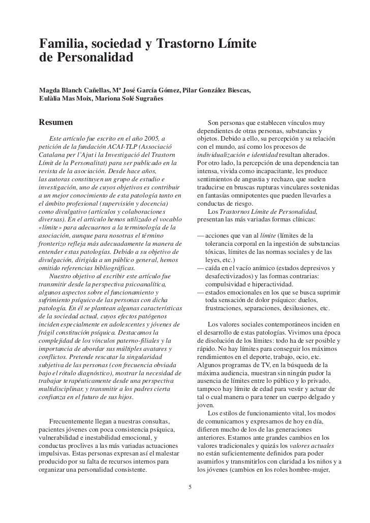 Familia, sociedad y Trastorno Límitede PersonalidadMagda Blanch Cañellas, Mª José García Gómez, Pilar González Biescas,Eul...