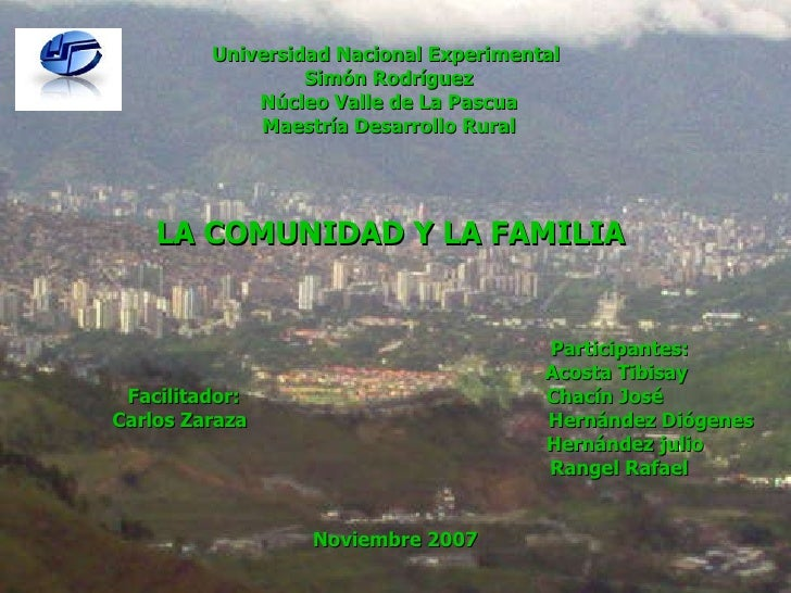 Universidad Nacional Experimental  Simón Rodríguez Núcleo Valle de La Pascua Maestría Desarrollo Rural LA COMUNIDAD Y LA F...
