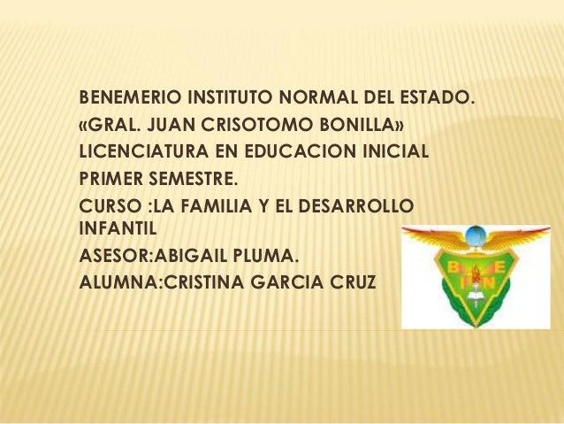 BENEMERIO INSTITUTO NORMAL DEL ESTADO.  «GRAL. JUAN CRISOTOMO BONILLA»  LICENCIATURA EN EDUCACION INICIAL  PRIMER SEMESTRE...