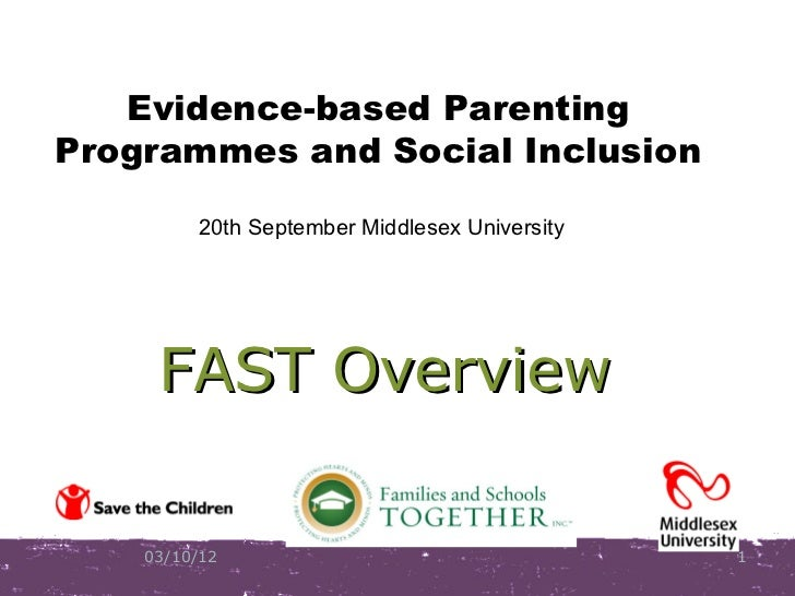 Evidence-based ParentingProgrammes and Social Inclusion         20th September Middlesex University     FAST Overview    0...
