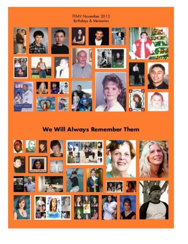Families & Friends of Murder Victims -  November 2013 newsletter