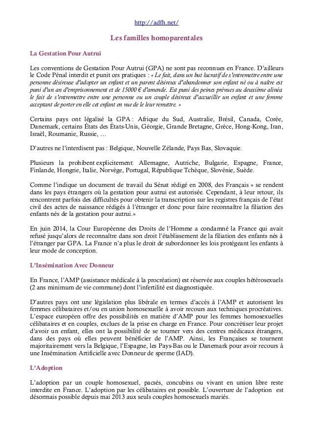 http://adfh.net/  Les familles homoparentales  La Gestation Pour Autrui  Les conventions de Gestation Pour Autrui (GPA) ne...