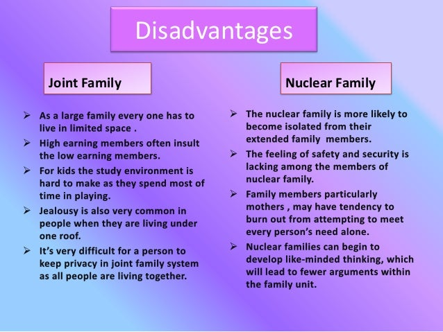 essay on joint family advantage and disadvantage