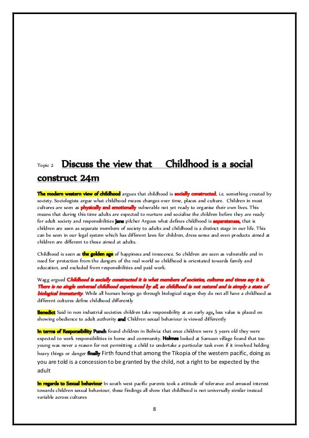 childhood social construction essays To what extent is childhood a social construct social construct a socially created aspect of life social constructionalists argue that human beings.