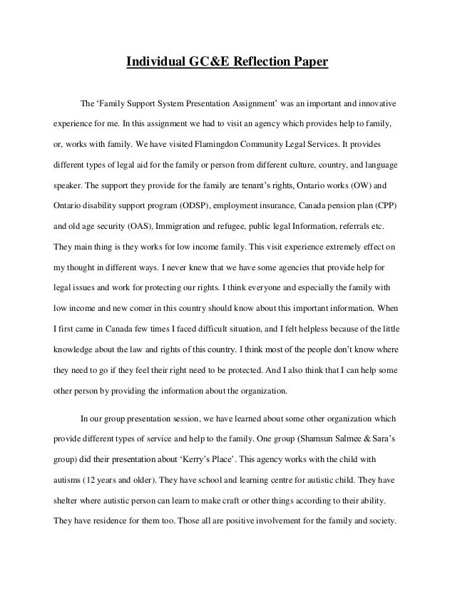 group reflective essay