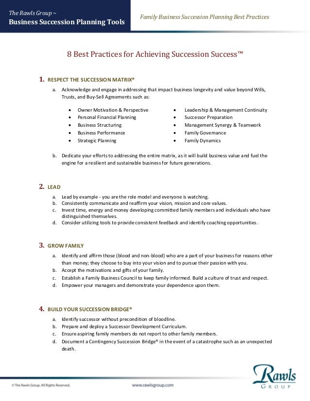 Family Business Succession Planning Best Practices The Rawls Group ~ Business Succession Planning Tools 8 Best Practices f...