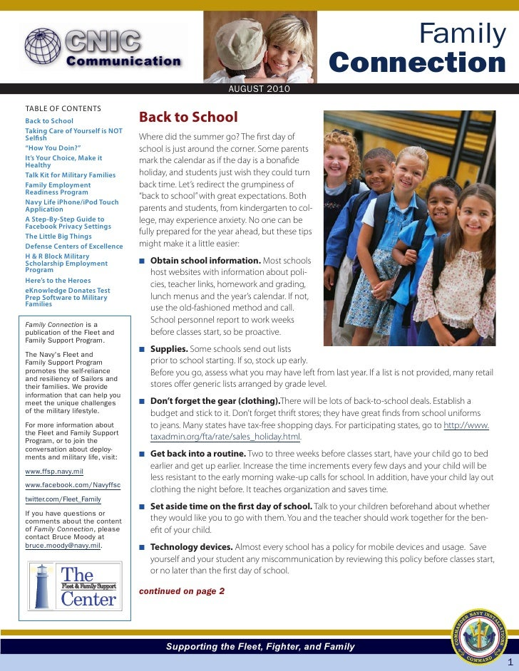 Family connection newsletter august 2010