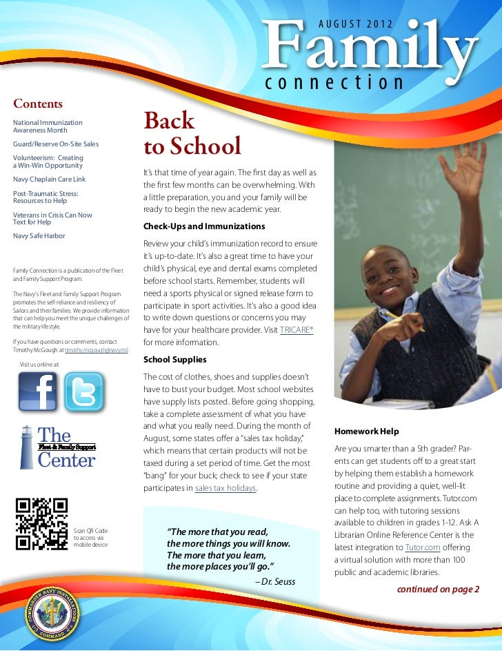 Family Connection Newsletter August 2012