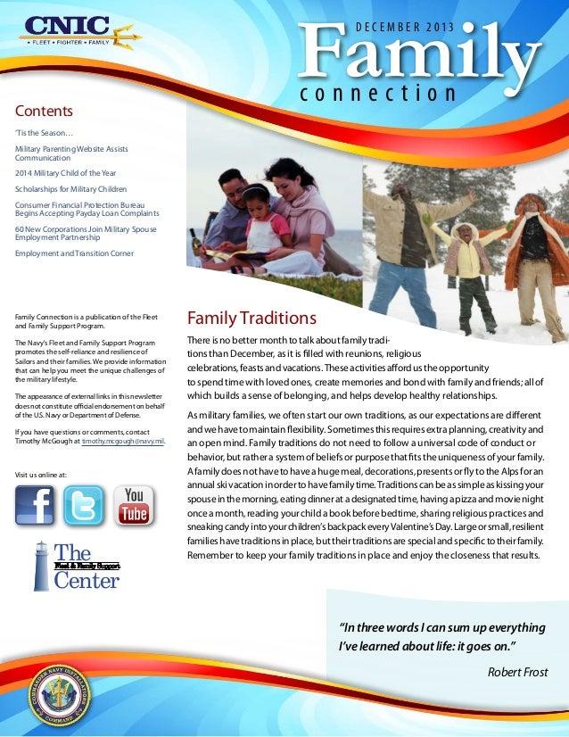 Family D E C E M B E R 2013  Contents  connection  'Tis the Season… Military Parenting Website Assists Communication 2014 ...