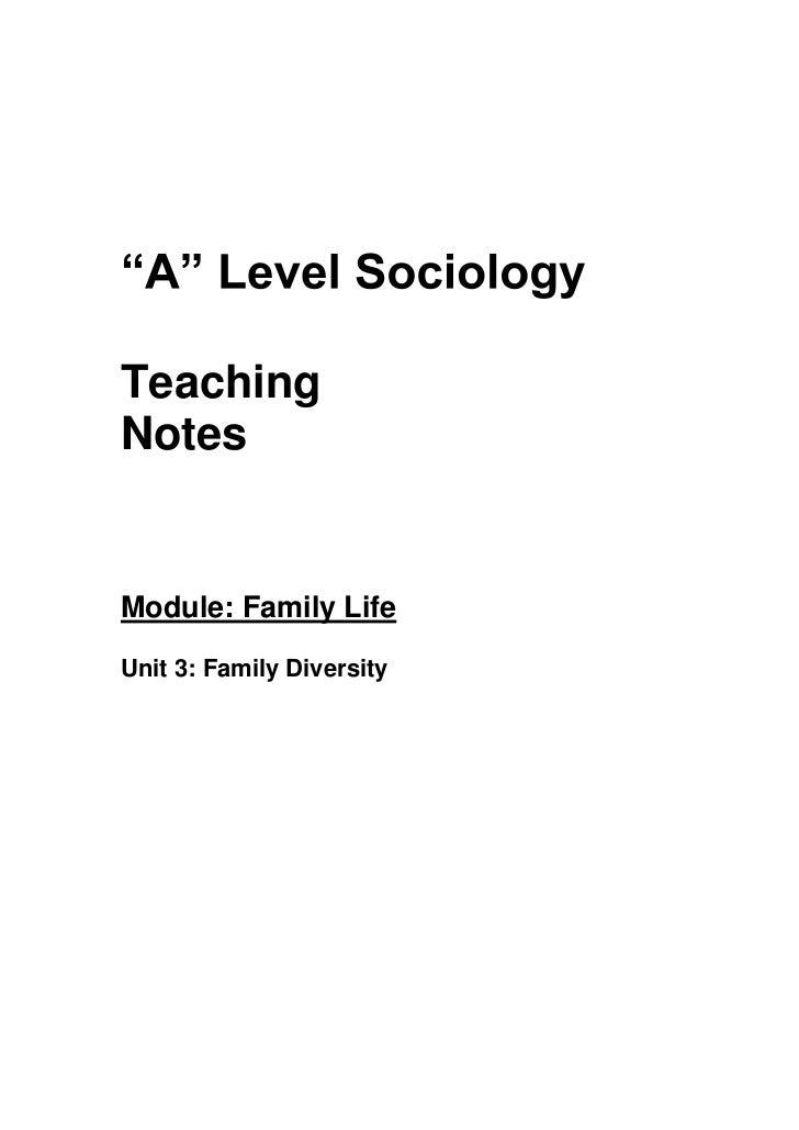 TeachingNotesModule: Family LifeUnit 3: Family Diversity