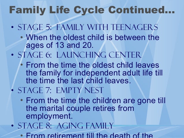 the family life cycle is a N family development theory is an interdisciplinary approach of examining the family n involves biological, social, and six stage family life cycle: n.