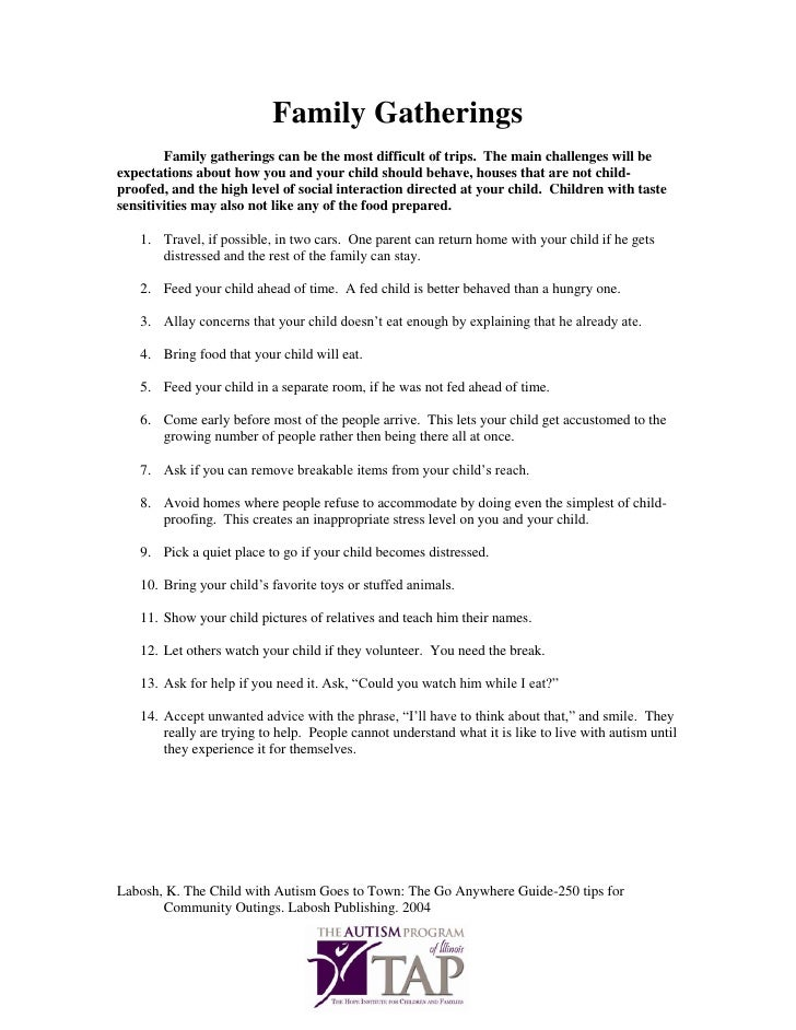 Family gatherings tip sheet