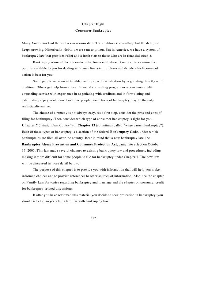 Family Legal Guide  Chapter 8 Bankruptcy