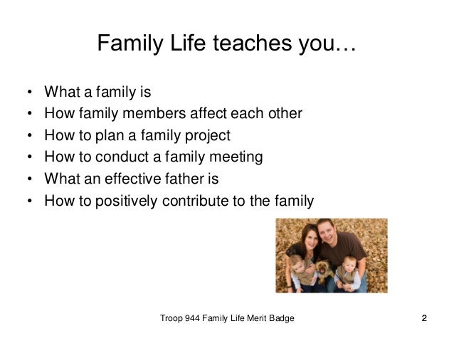Similiar Family Life Merit Badge Keywords