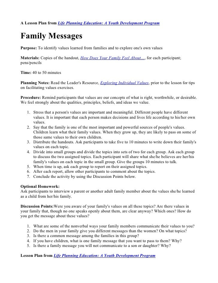 A Lesson Plan from Life Planning Education: A Youth Development Program   Family Messages Purpose: To identify values lear...