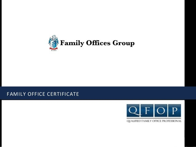 FAMILY OFFICE CERTIFICATE
