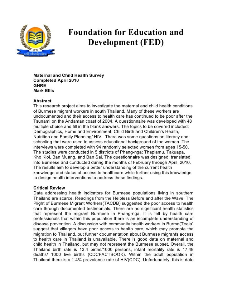 Foundation for Education and                      Development (FED)   Maternal and Child Health Survey Completed April 201...
