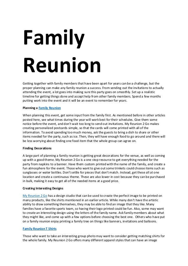 Free Sample Family Reunion Welcome Letter