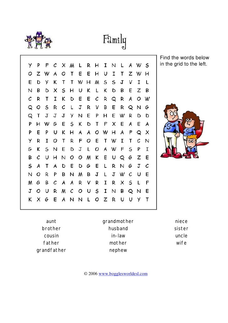 Find the words below                                                in the grid to the left.         aunt              gra...