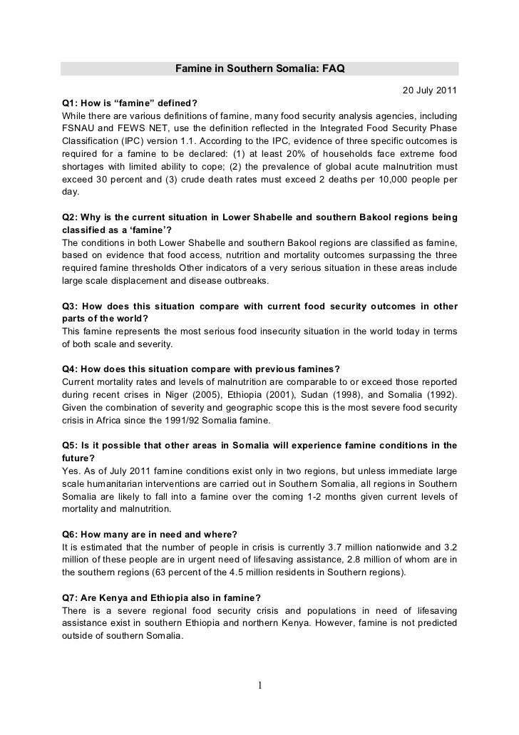 Famine in Southern Somalia: FAQ                                                                                 20 July 20...