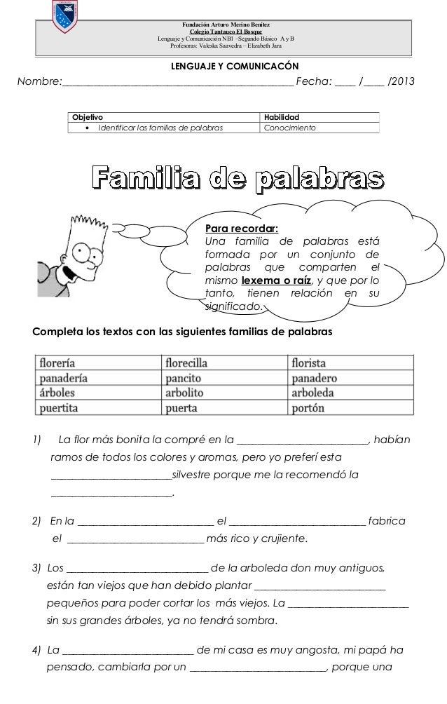 Nombre:____________________________________________ Fecha: ____ /____ /2013 Completa los textos con las siguientes familia...