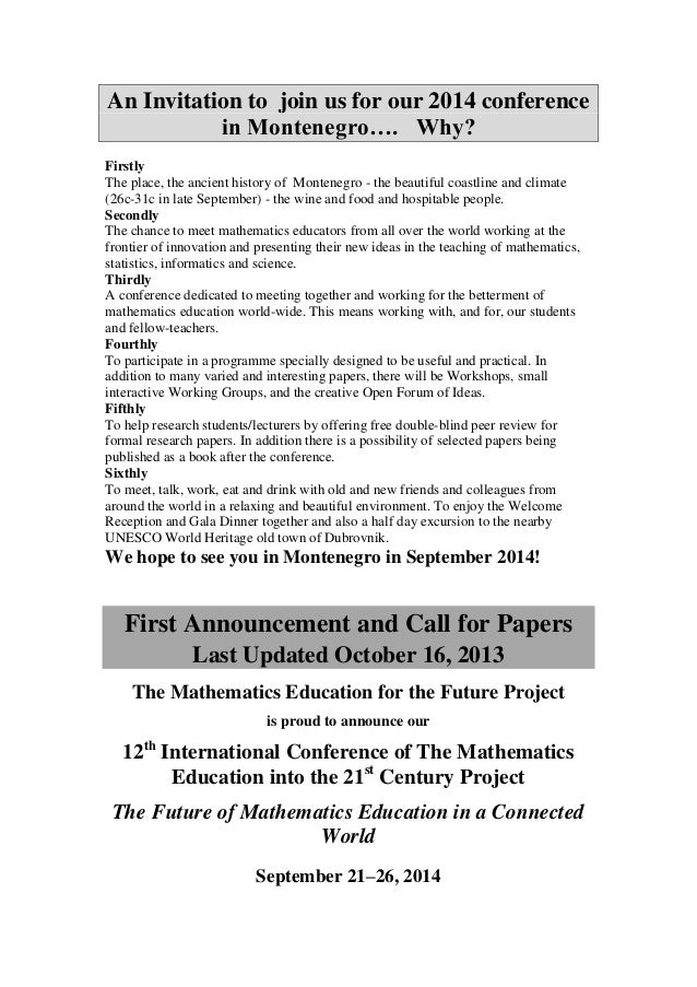 Mathematics Education Conference Information Europe