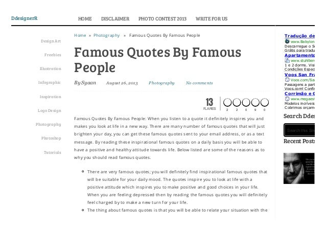Famous quotes by famous people >> ddesigner R