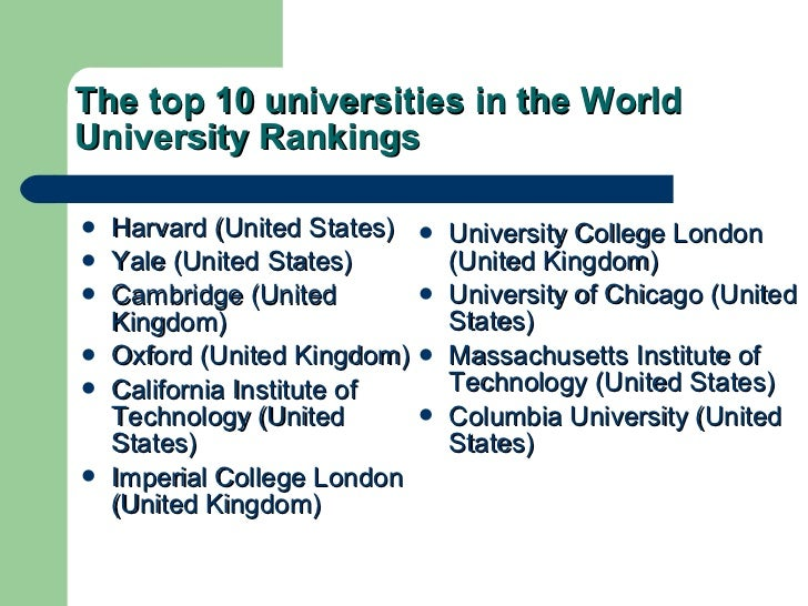 The top 10 universities in the World University Rankings <ul><li>Harvard (United States) </li></ul><ul><li>Yale (United St...