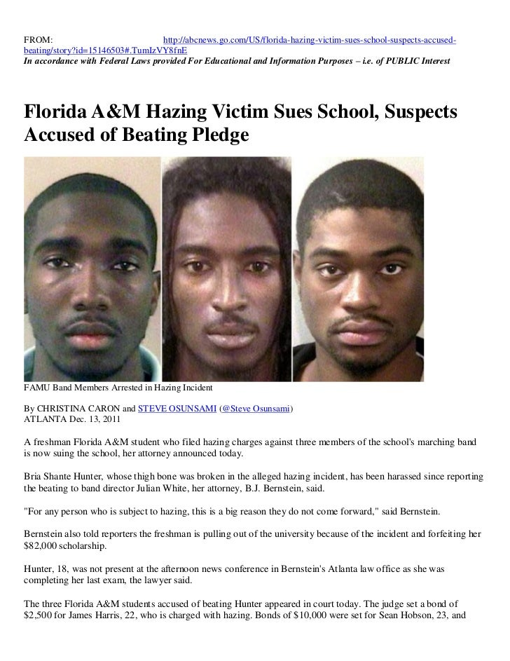 ARTICLE - FAMU STUDENTS ARRESTED