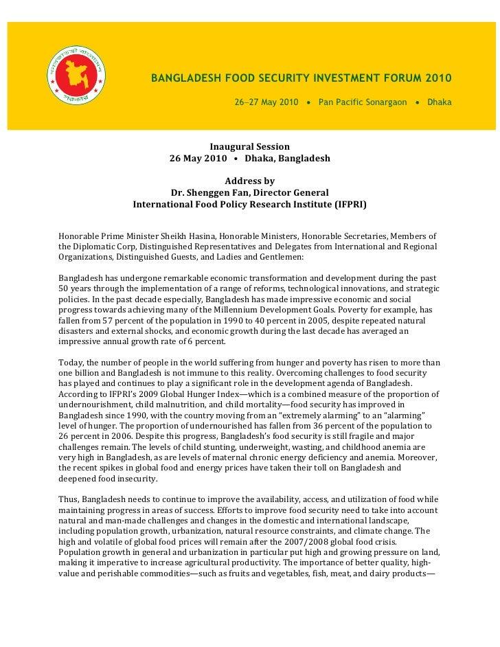 Address by Dr. Shenggen Fan, Director General International Food Policy Research Institute (IFPRI)