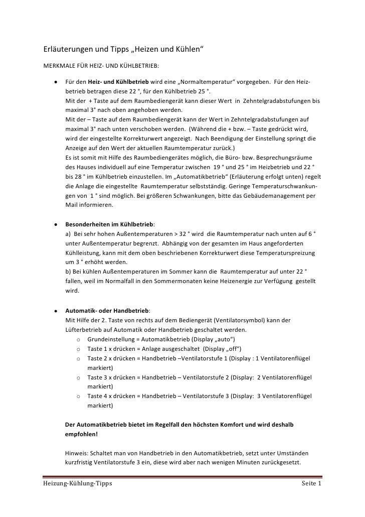 """Erläuterungen und Tipps """"Heizen und Kühlen"""" MERKMALE FÜR HEIZ- UND KÜHLBETRIEB:        Für den Heiz- und Kühlbetrieb wird ..."""