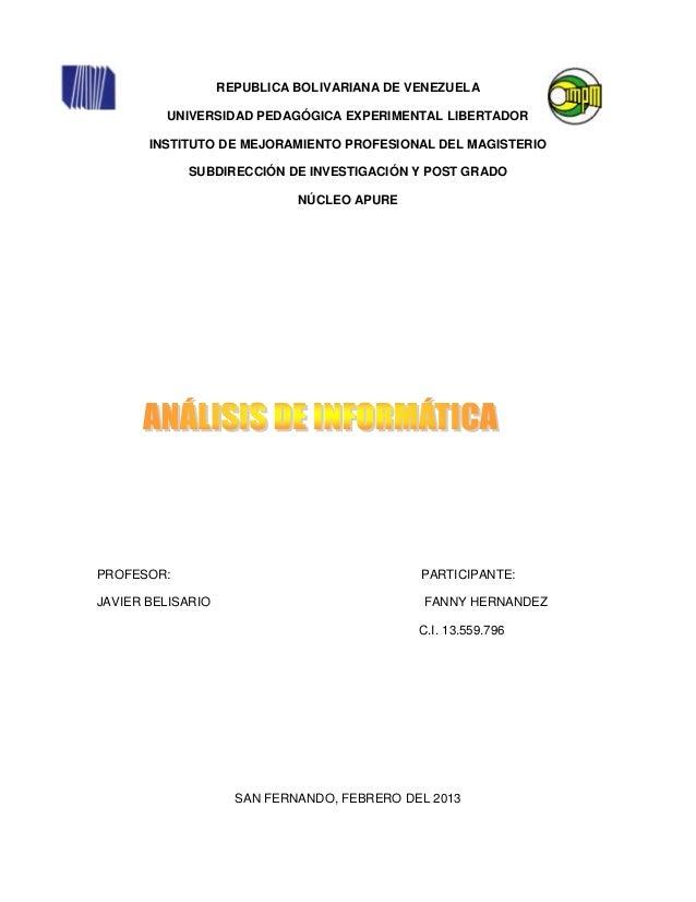 REPUBLICA BOLIVARIANA DE VENEZUELA         UNIVERSIDAD PEDAGÓGICA EXPERIMENTAL LIBERTADOR       INSTITUTO DE MEJORAMIENTO ...