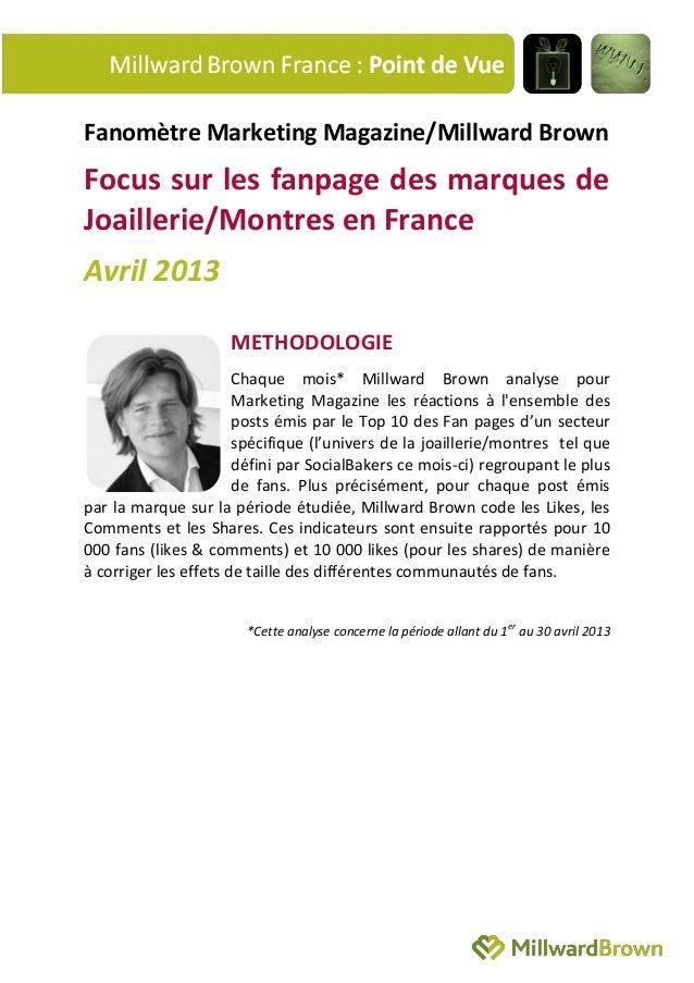 Fanomètre Marketing Magazine/Millward BrownFocus sur les fanpage des marques deJoaillerie/Montres en FranceAvril 2013METHO...