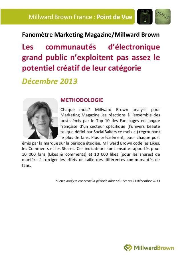 Fanomètre Marketing Magazine/Millward Brown  Les communautés d'électronique grand public n'exploitent pas assez le potenti...
