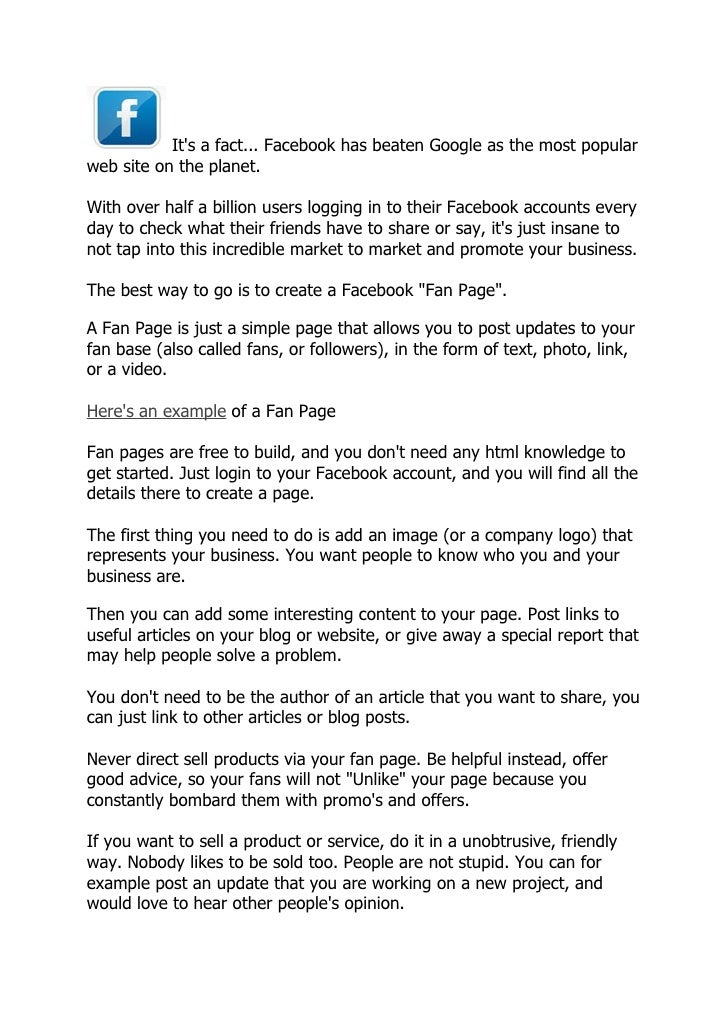 How to create a winning Facebook Fan Page